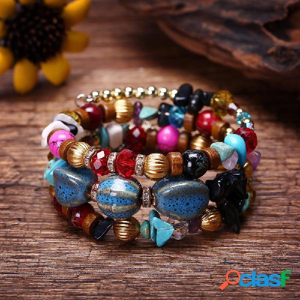 Pulseira bohemian crushed stone pulseira multi layer beaded pulseira mulher cristal mistura de cores