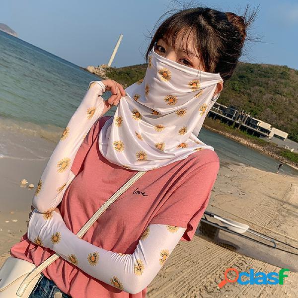 Anti-UV manga de gelo pendurado Orelha pescoço Máscara protetor solar de seda gelo véu rosto cheio capa de margarida rosto Máscara