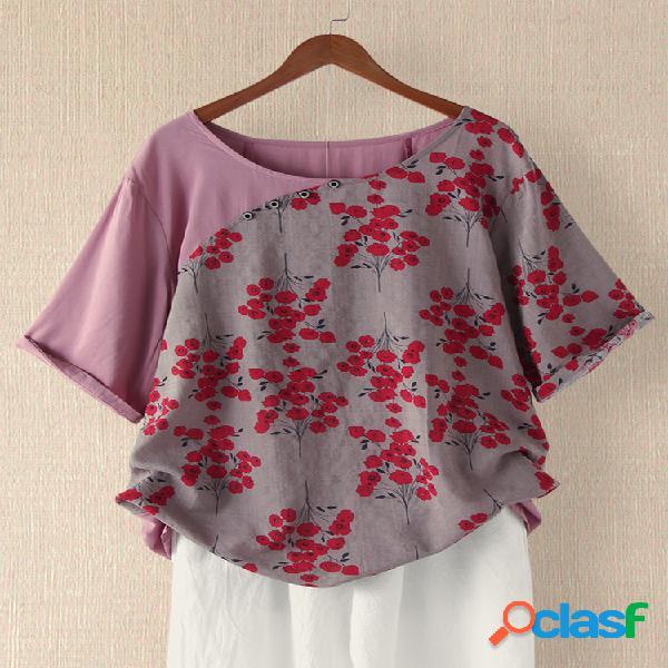 Retalhos de impressão floral vintage plus tamanho camiseta