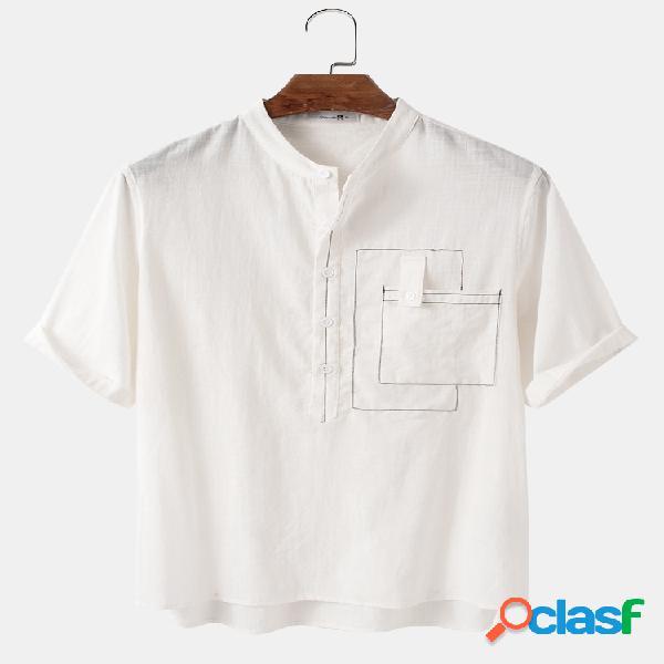 Mens designer pocket simple solid 100% algodão casual camisas henley
