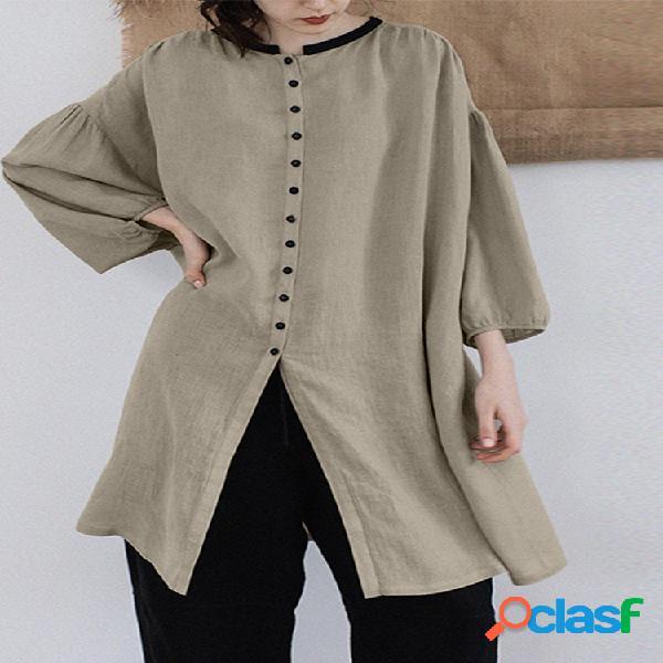 Split split sleeve button 3/4 sleeve plus blusa de tamanho