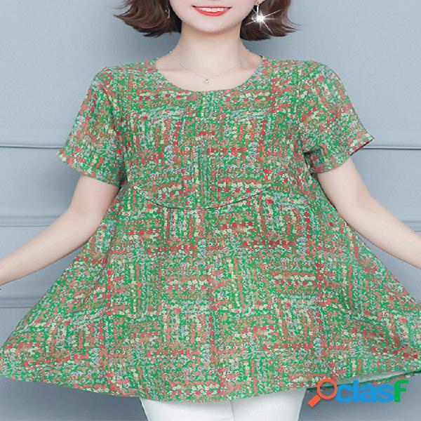 Colorful blusa de manga curta com estampa para mulheres