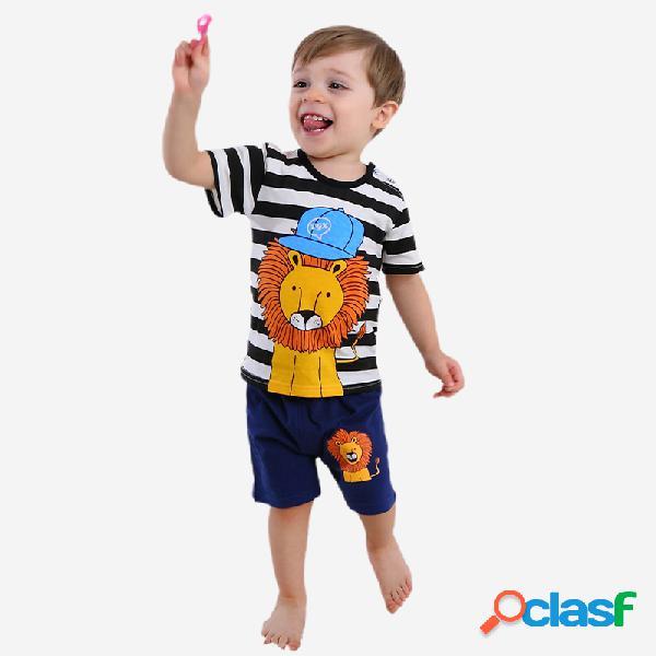 Conjunto de roupas de pijama listrado de manga curta soft de pijama de menino para 1-5a