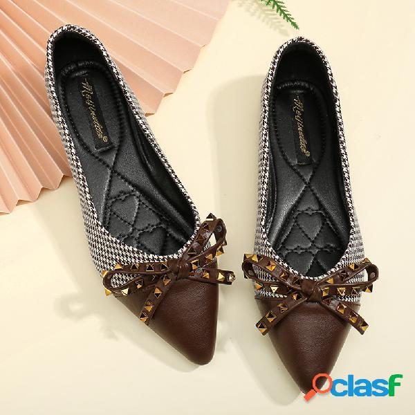 Mulheres de tamanhos grandes sapatos de dedo apontado arco decoração sapatos