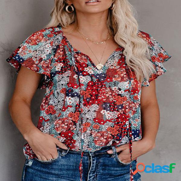 Bandagem blusa com estampa floral de manga curta com decote em v para mulheres