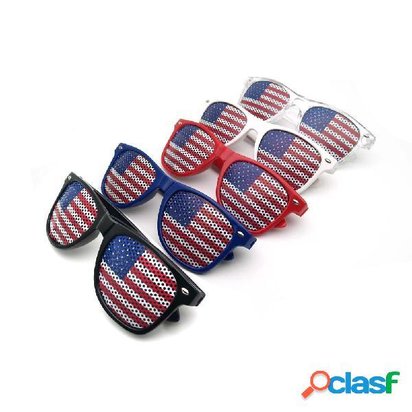 Bandeira americana us patriótico design obturador de plástico óculos óculos de sol para decoração de festa do dia da independência