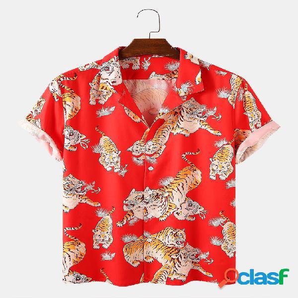 Homens tiger animal print causal camisa