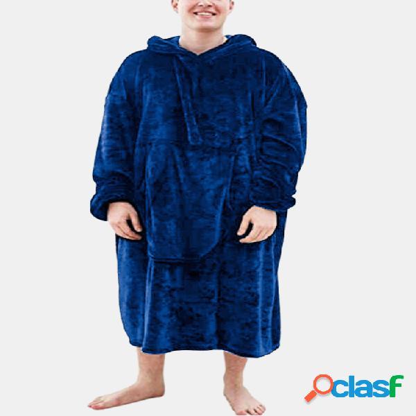 Cobertor masculino de flanela aquecido quente confortável confortável espesso até a panturrilha com capuz e bolso canguru