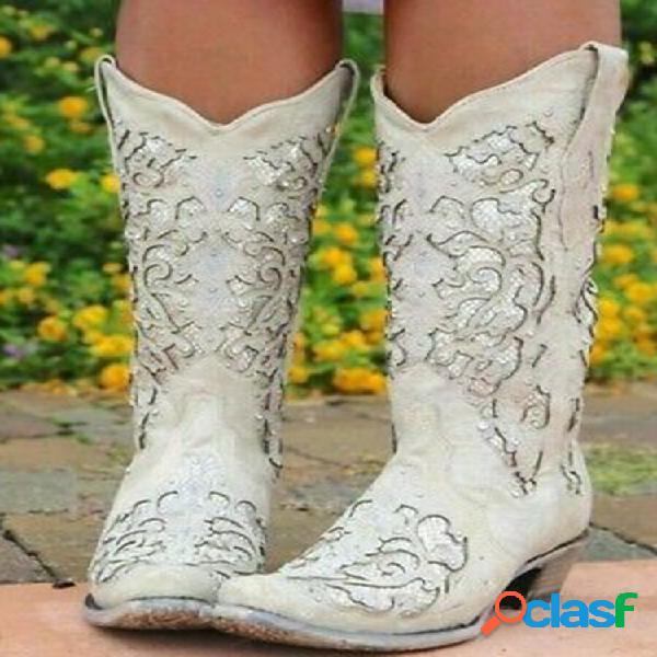 Flor elegante retrô feminina de tamanho grande padrão botas de caubói com bico médio na panturrilha