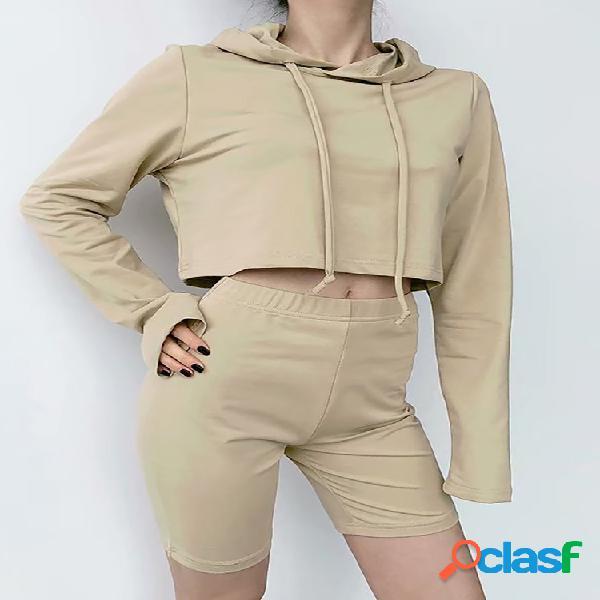 Moletom feminino com capuz e lazer terno esportivo terno de duas peças