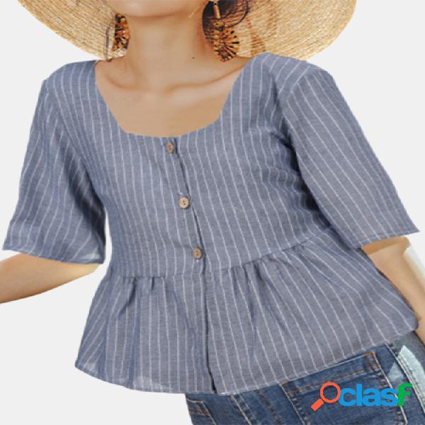 Blusa casual com estampa listrada de manga curta com gola quadrada