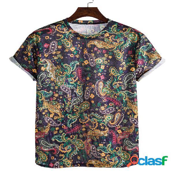 Camisetas masculinas com estampa étnica solta e fina de manga curta