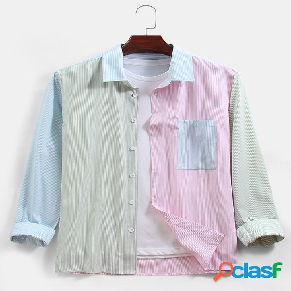 Algodão macaron listrado masculino lapela casual manga longa camisas com bolso