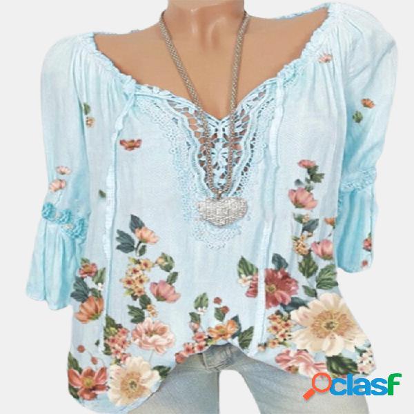 Blusa casual flores estampa meia manga plus tamanho