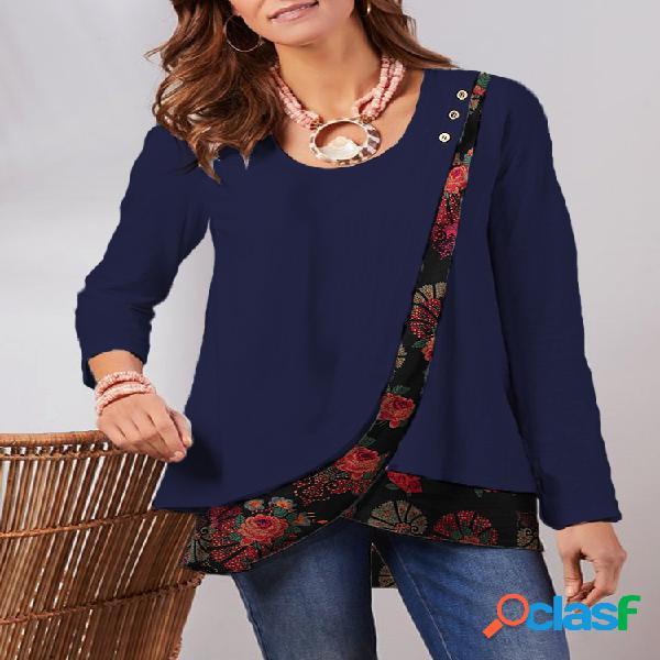 Blusa de algodão vintage de manga longa com estampa floral remendada com gola O