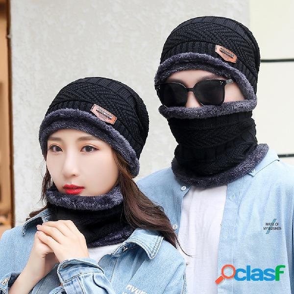 Homens 2 peças de lã plus veludo grosso inverno manter quente proteção do pescoço à prova de vento malha chapéu