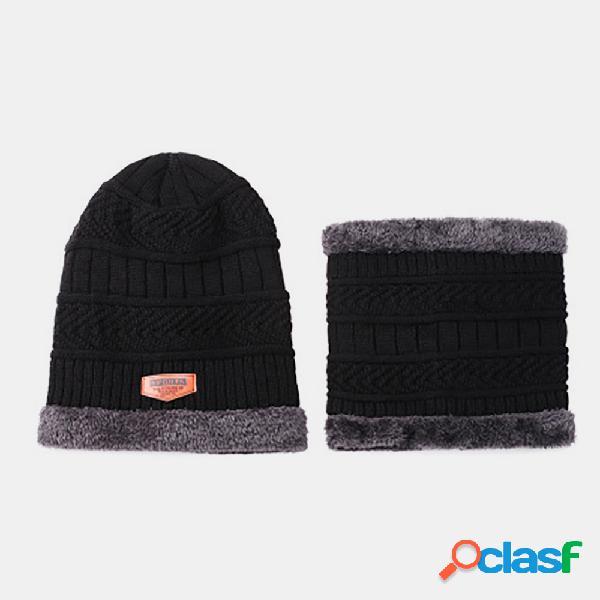 Lã masculina plus veludo espesso inverno manter quente proteção do pescoço malha à prova de vento chapéu