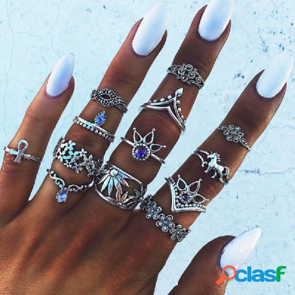 Anéis de gota de água geométricos étnicos definidos anéis de gema azul anéis de metal ocos de flores