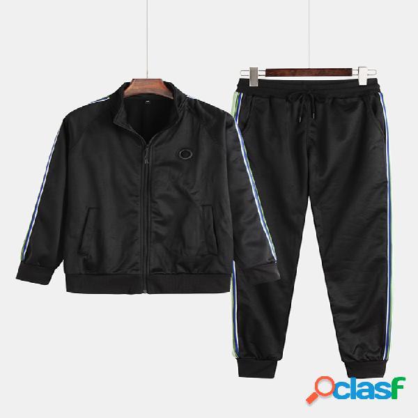 Moda masculina linha de impressão de retalhos duas peças manga comprida elástica ternos de treinamento esportivo