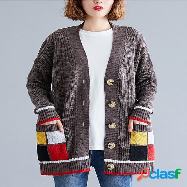 Plus tamanho literário cor costura casaco cardigan camisola