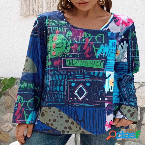 Blusa com estampa abstrata vintage manga comprida tamanho plus