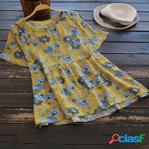 Blusa de algodão manga curta estampado floral plus tamanho vintage