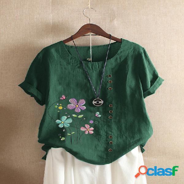 Camiseta de manga curta com decote em o bordado floral