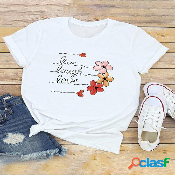 Carta casual com estampa floral de manga curta decote em o camiseta casual para mulheres
