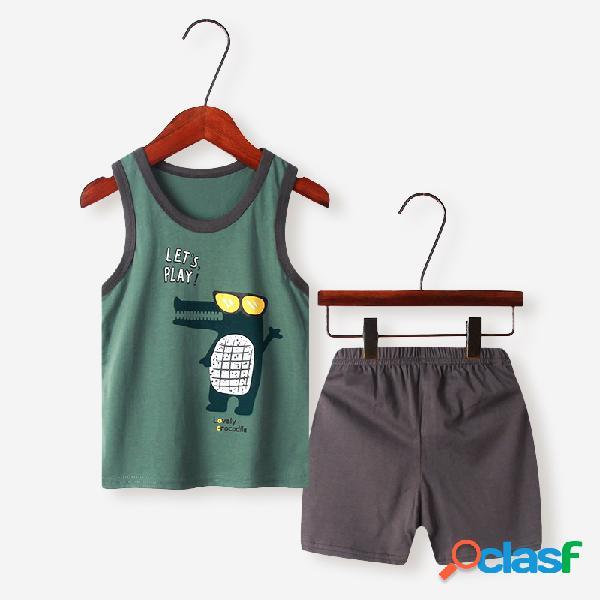 Conjunto de pijama casual sem mangas de impressão dos desenhos animados para menino de 2 a 10 anos