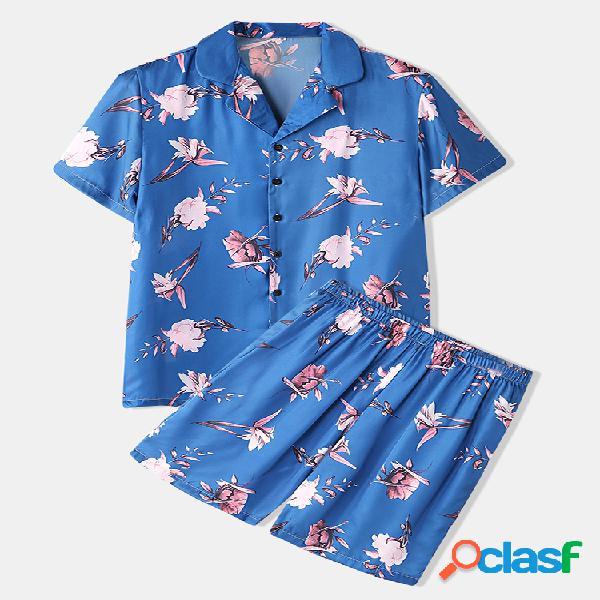 Pijama masculino de seda artificial com estampa floral azul duas peças de luxo roupa de dormir confortável