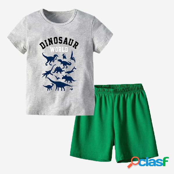 Conjunto de pijama casual de manga curta com estampa de dinossauro masculino para 6-11 anos