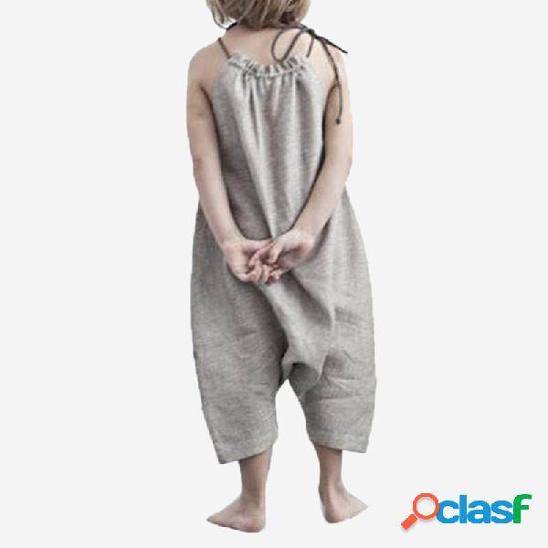 Macacão sem mangas de cor sólida da menina casual slip jumpsuit para 2-8a