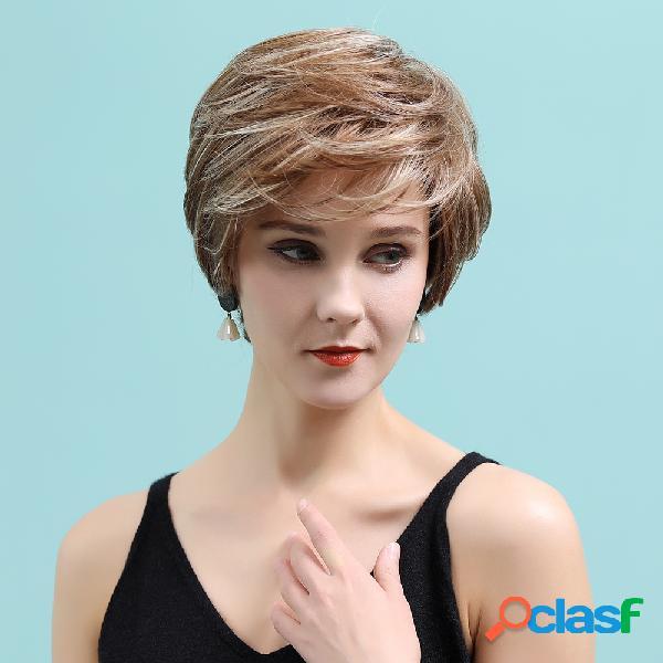 10 polegadas dourado marrom cor misturada curto humano cabelo perucas elegante fofo respirável cabelo peruca