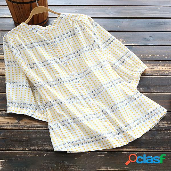 Floral polka dot print meia manga camisa para mulheres