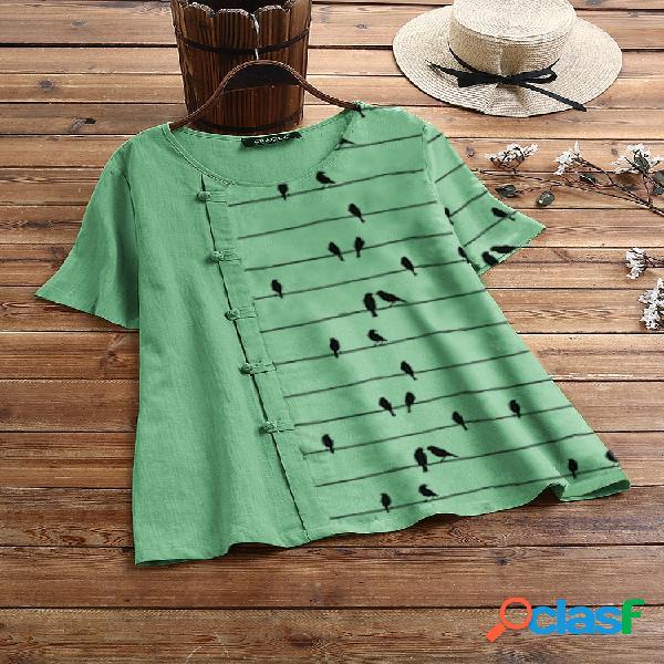 Frog button birds print patchwork camiseta de manga curta
