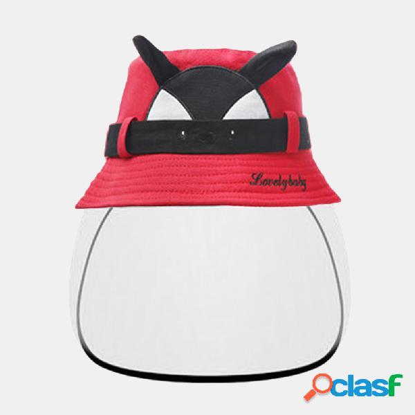 Sol infantil chapéu tela à prova de vento à prova de vento big-edge outdoor anti-uv destacável face screen