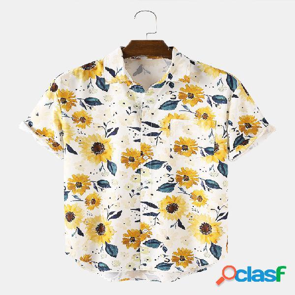 Camisas masculinas com estampa de girassol e bolso leve de manga curta de grife