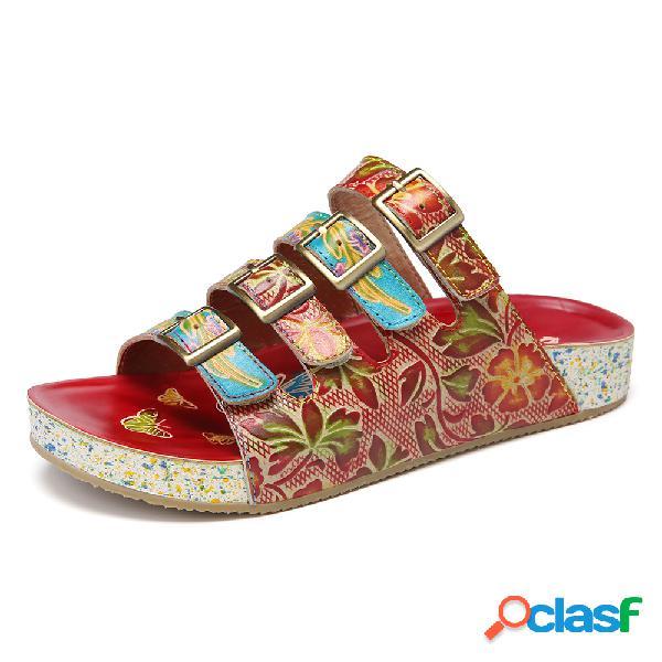 Socofy correias de fivela floral de couro artesanal da bohemia deslizam sobre sandálias de slides planas