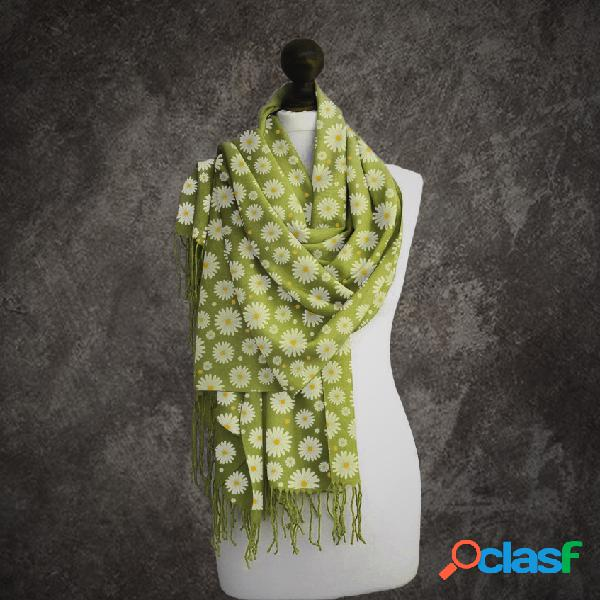 Lenço feminino com estampa floral margarida lenço longo