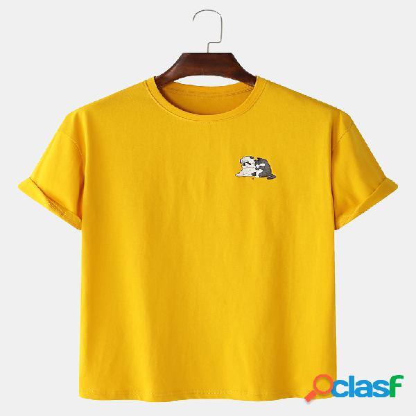 Mens 100% algodão animal dos desenhos animados impresso em torno do pescoço casual manga curta t-shirts