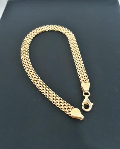 Prata italiana 925 - pulseira nova - banhada a ouro