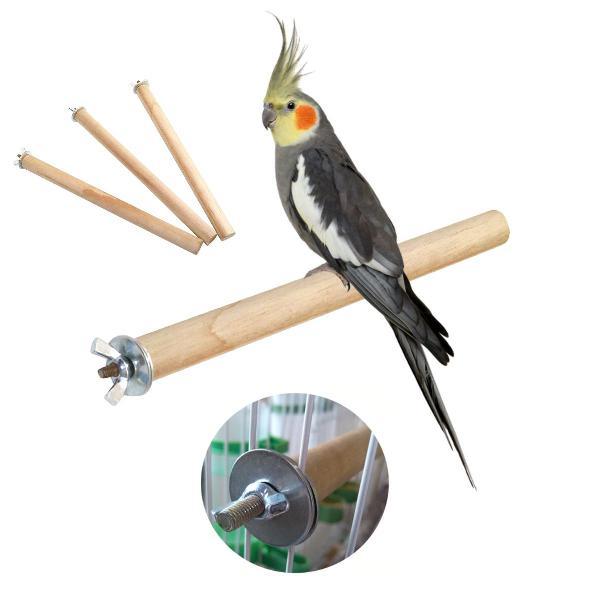 3 poleiros de madeira para aves e calopsitas