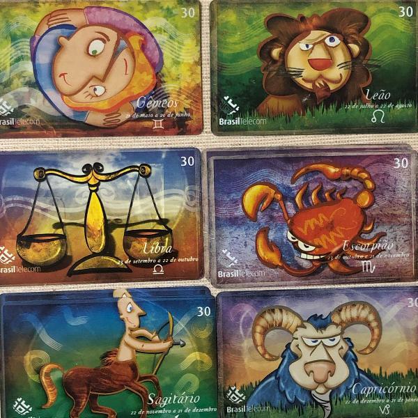 6 cartoes telefônicos coleção signos do zodíaco.