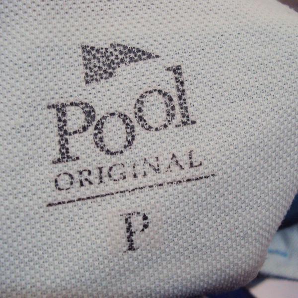Camisa polo pool listrada azul cinza branco tamanho p