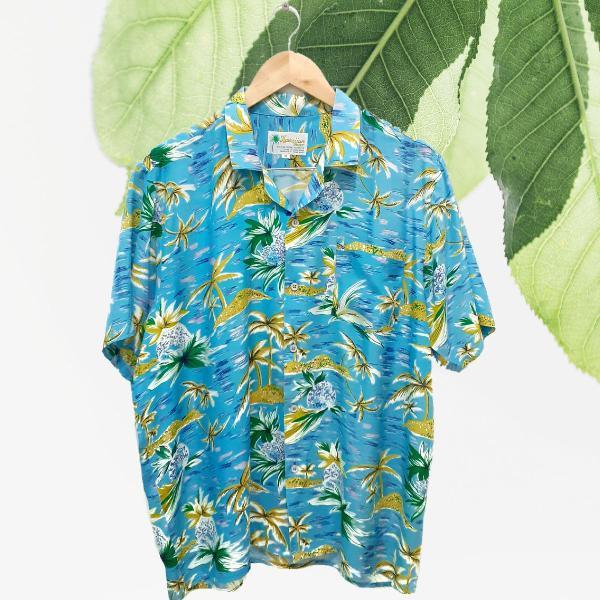 Camisa floral azul hawaiian