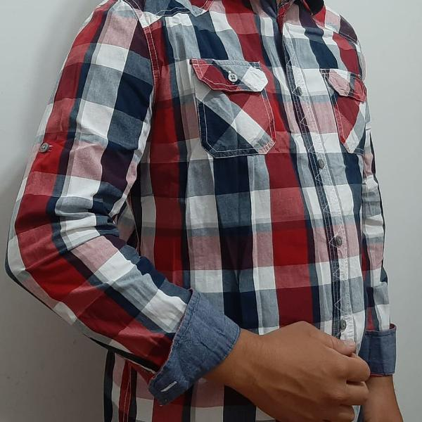 Camisa xadrez vermelha manga comprida