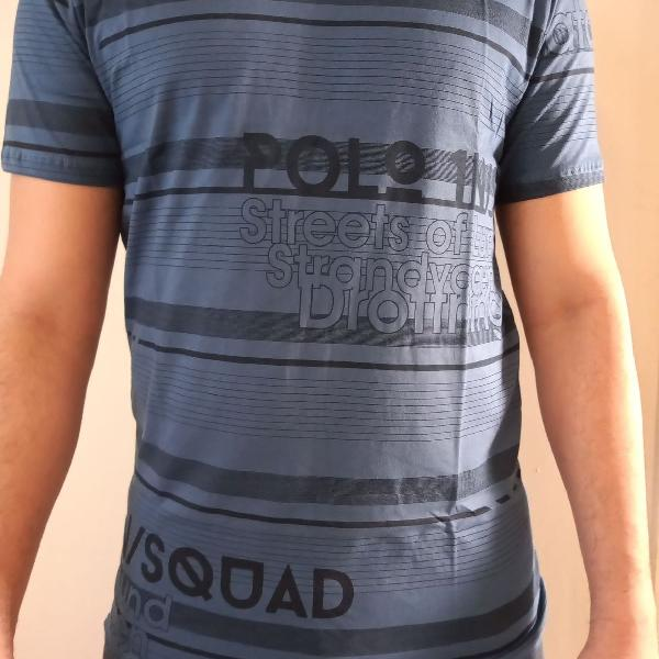 Camiseta masculina azul jeans estampada polo in