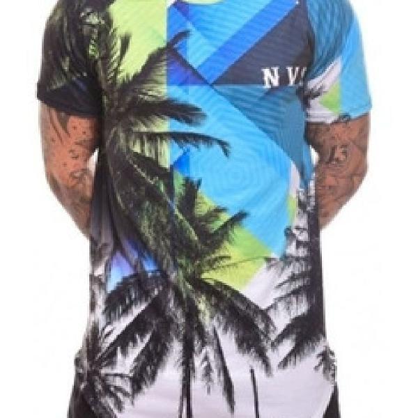 Camiseta masculina longline gradiente