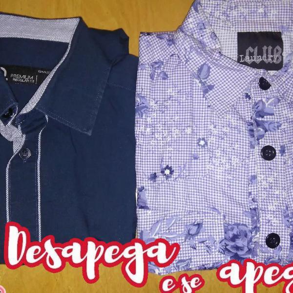 Dupla lote de camisas sociais masculina azul