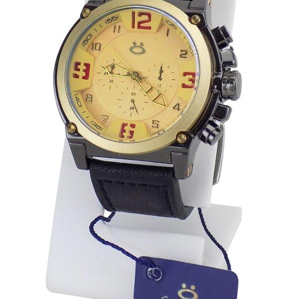 Relógio masculino pulseira de couro fundo dourado original